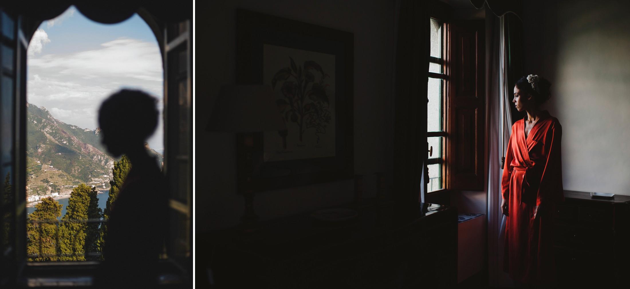 luxury wedding bride standing by the window in villa cimbrone