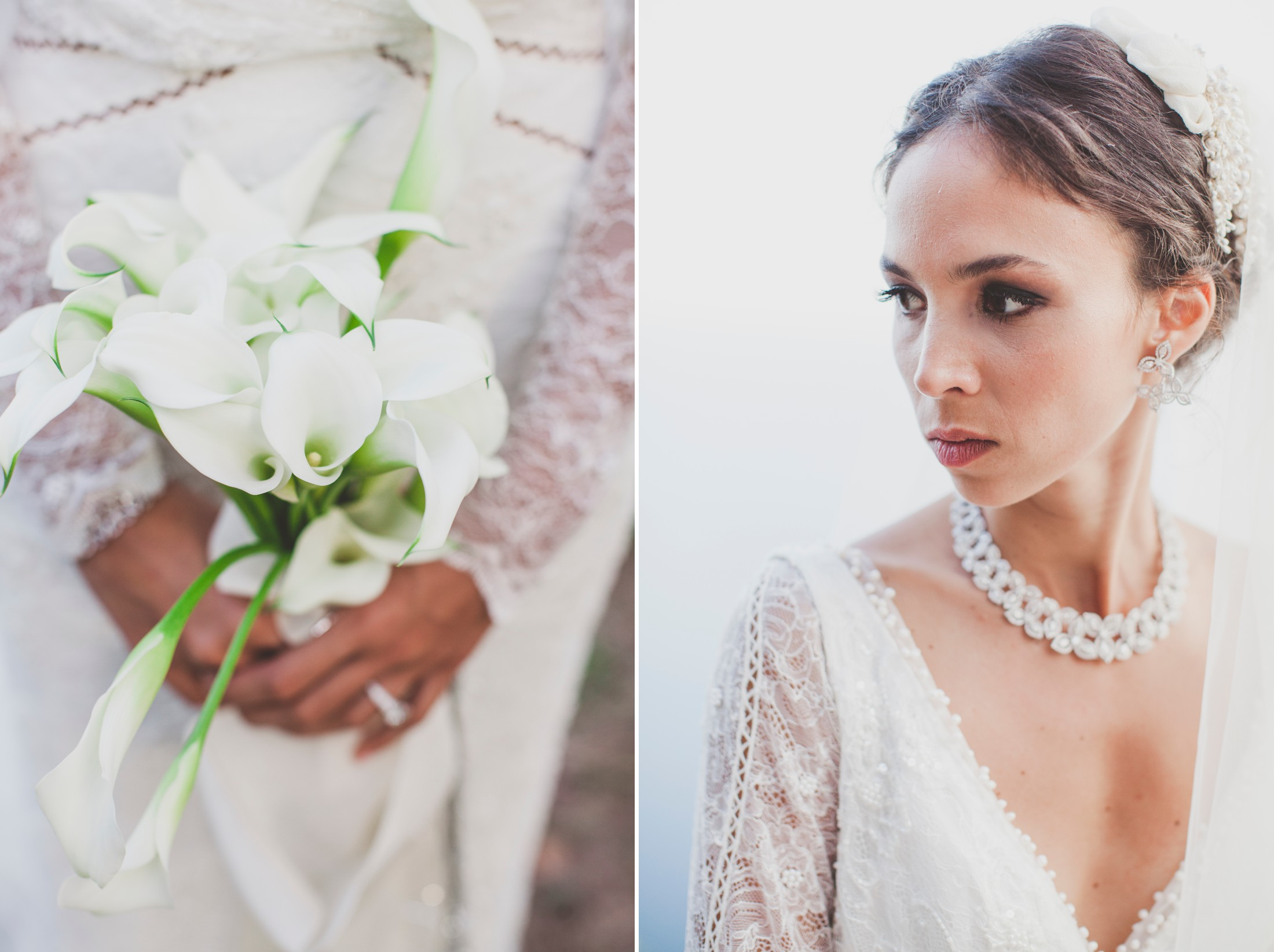 luxury wedding bride's portrait and wedding bouquet made of call lily flowers