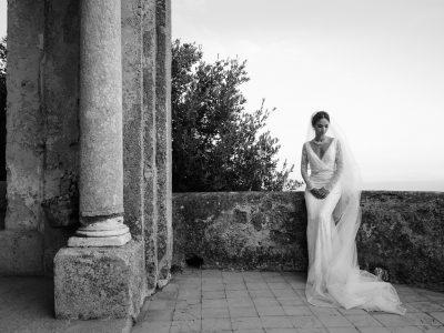 luxury wedding bride's portrait at villa cimbrone ravello