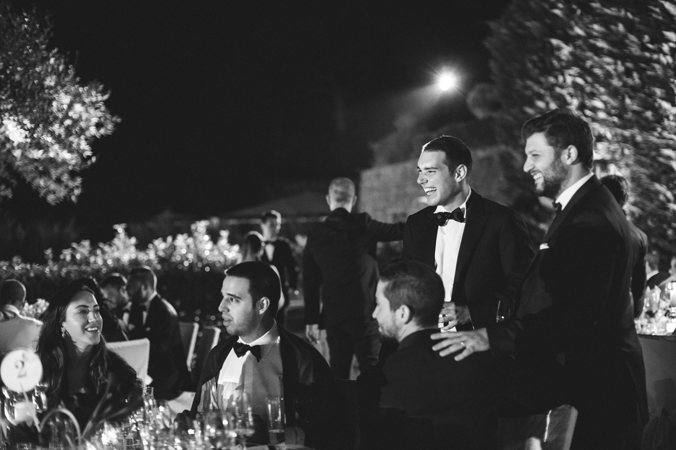 luxury wedding guests at villa cimbrone ravello in black and white
