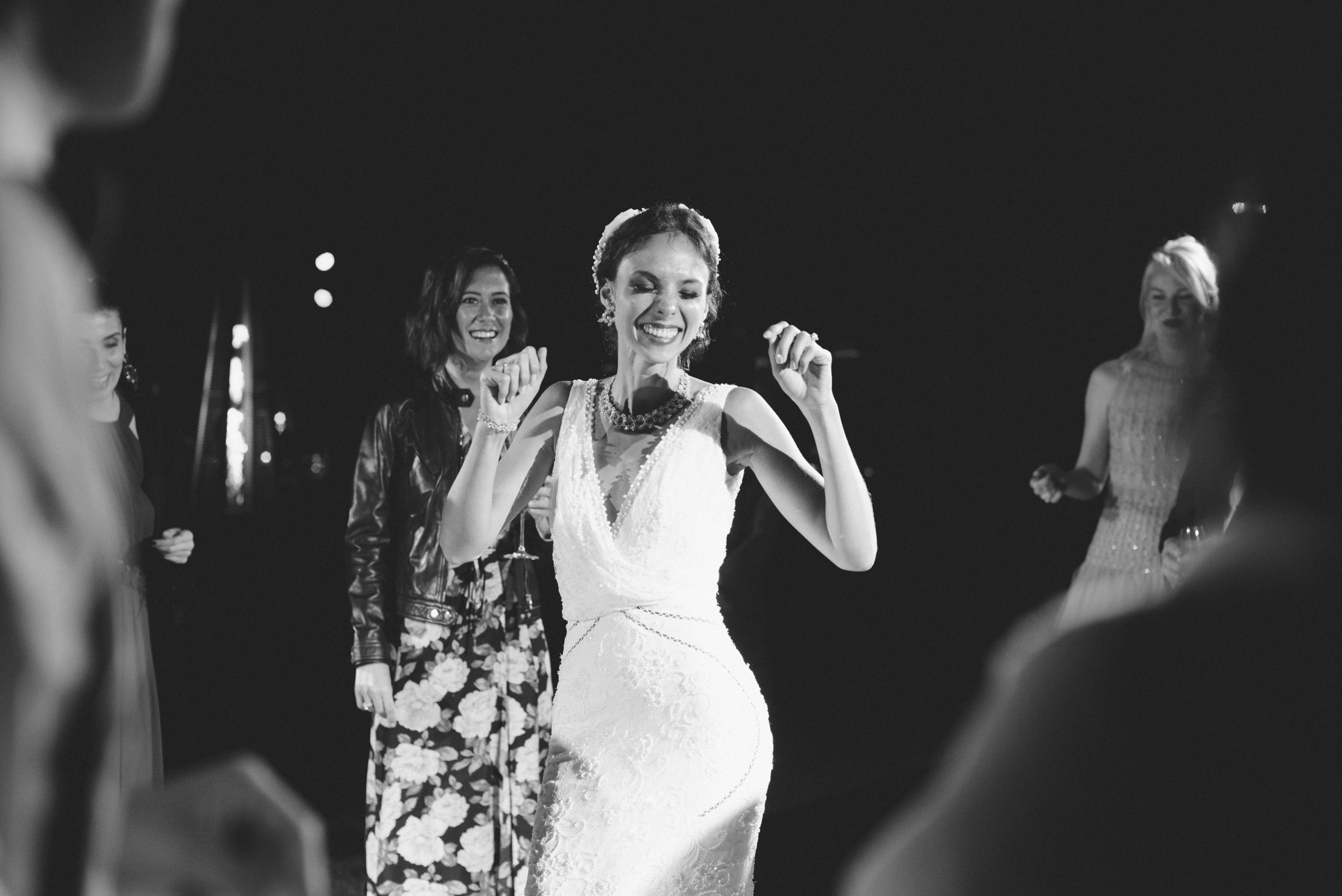 luxury wedding the bride dancing in black and white