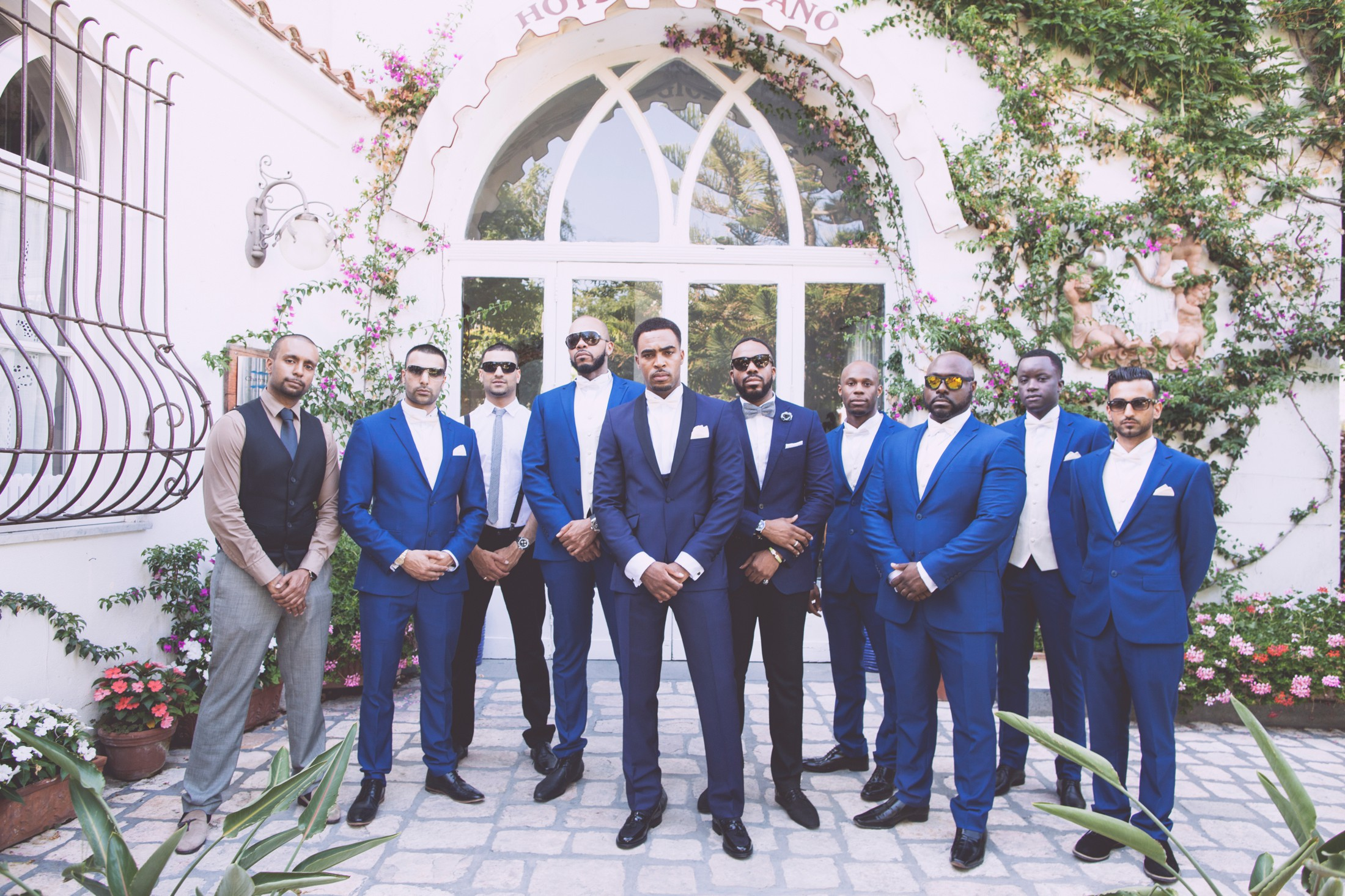 wedding in italy the groom with best men and friends