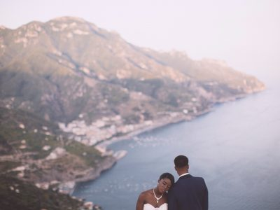 wedding in ravello bride and groom's portrait