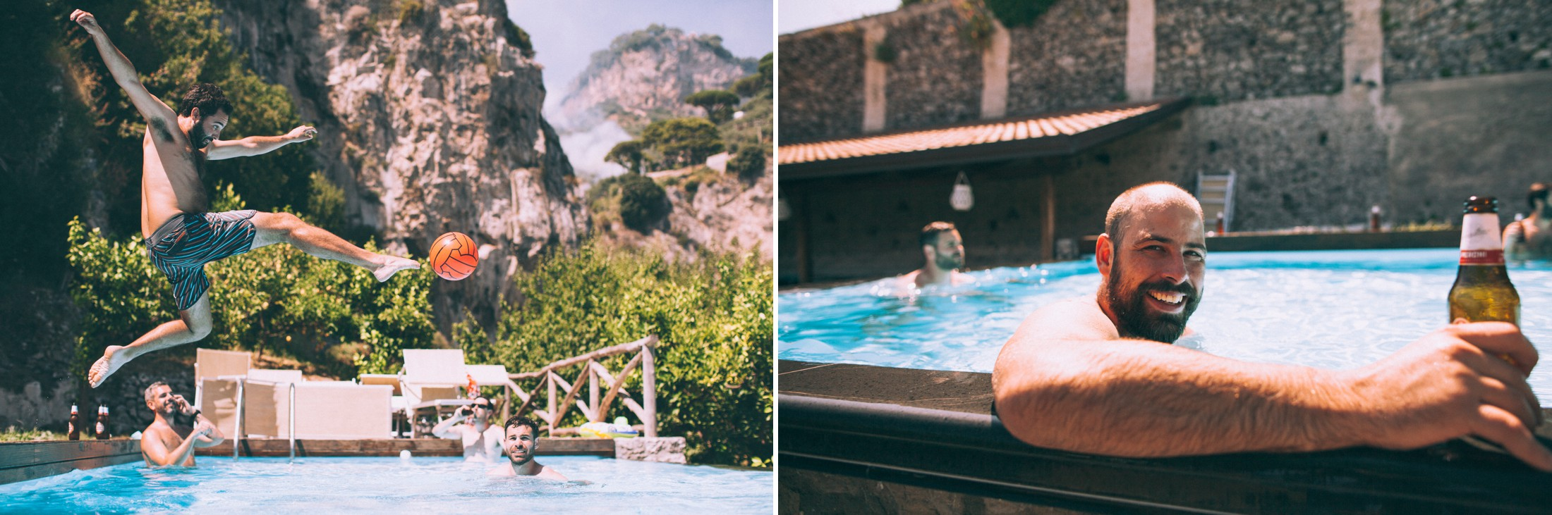 rustic wedding in ravello the groom and his friends having fun in the swimming pool