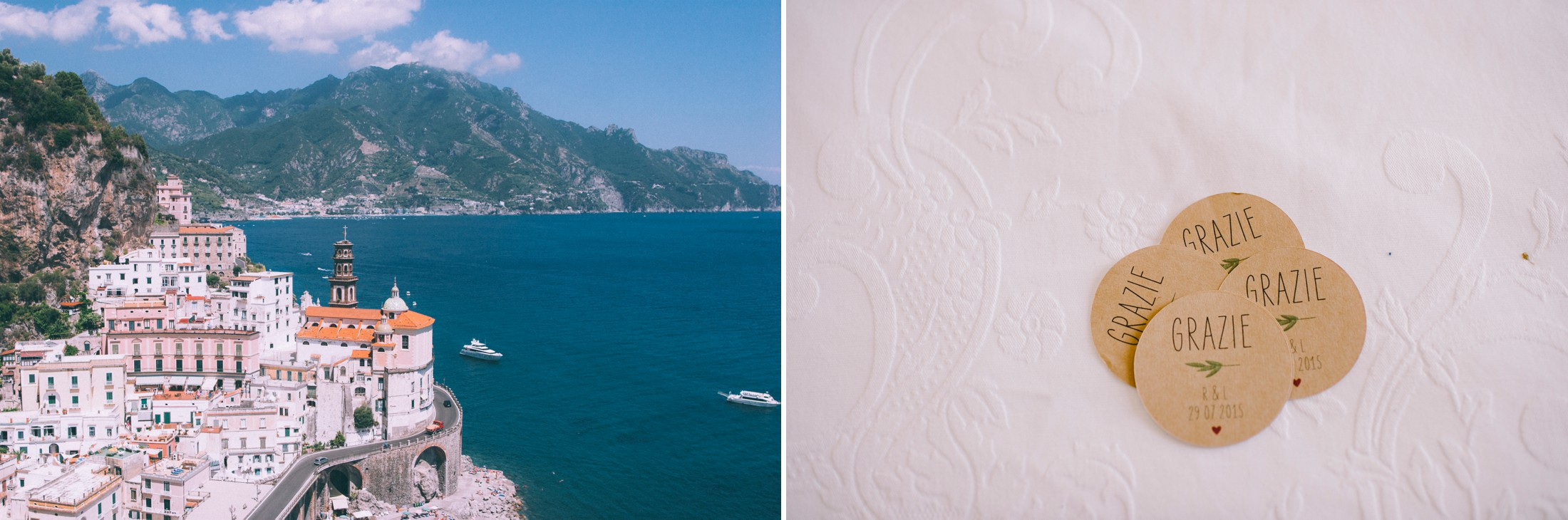 rustic wedding in ravello collage landscapes and wedding detail