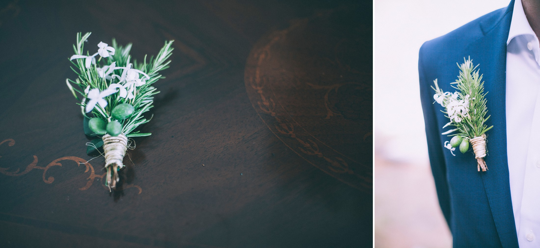 rustic wedding in ravello boutonniere made of eucalipto