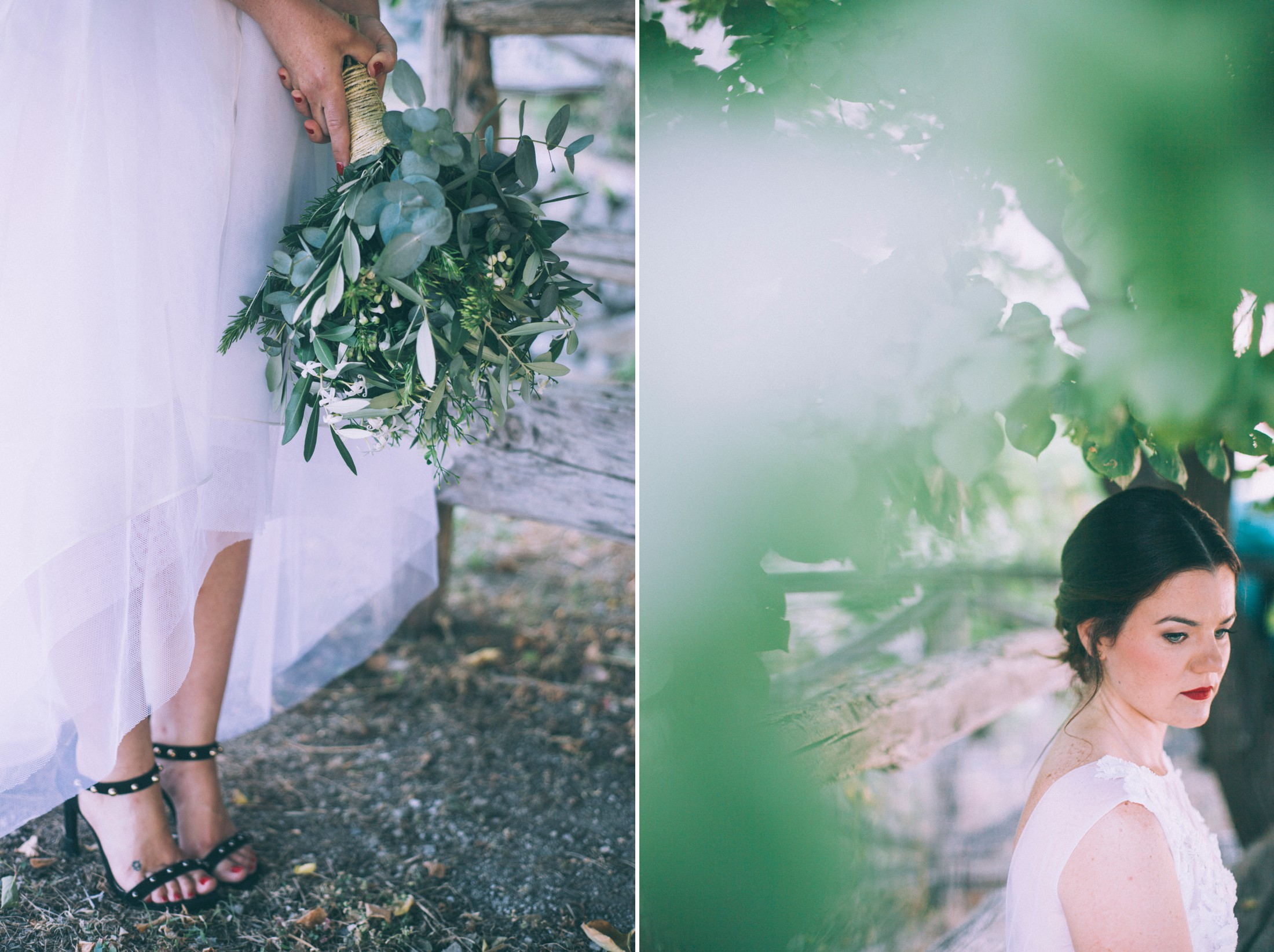 rustic wedding in ravello collage the wedding bouquet and a portrait of the bride through green leaves