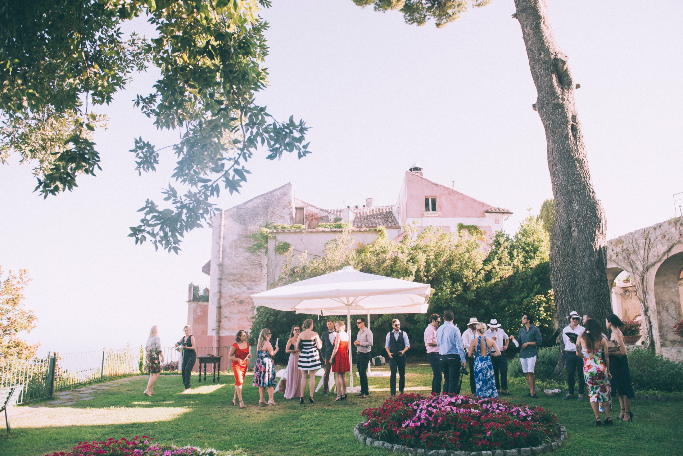 rustic wedding in ravello wedding guests waiting for the bride