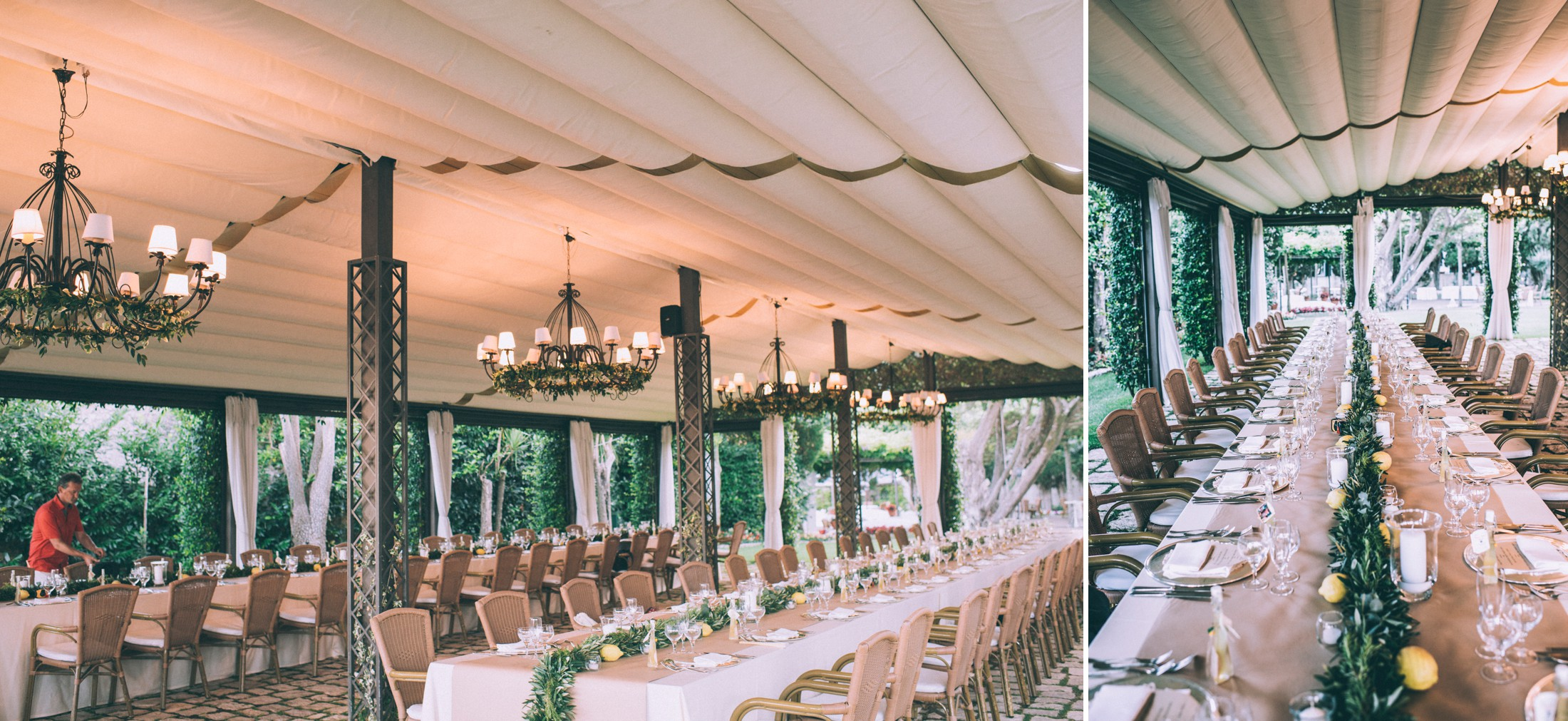 rustic wedding in ravello collage table setting