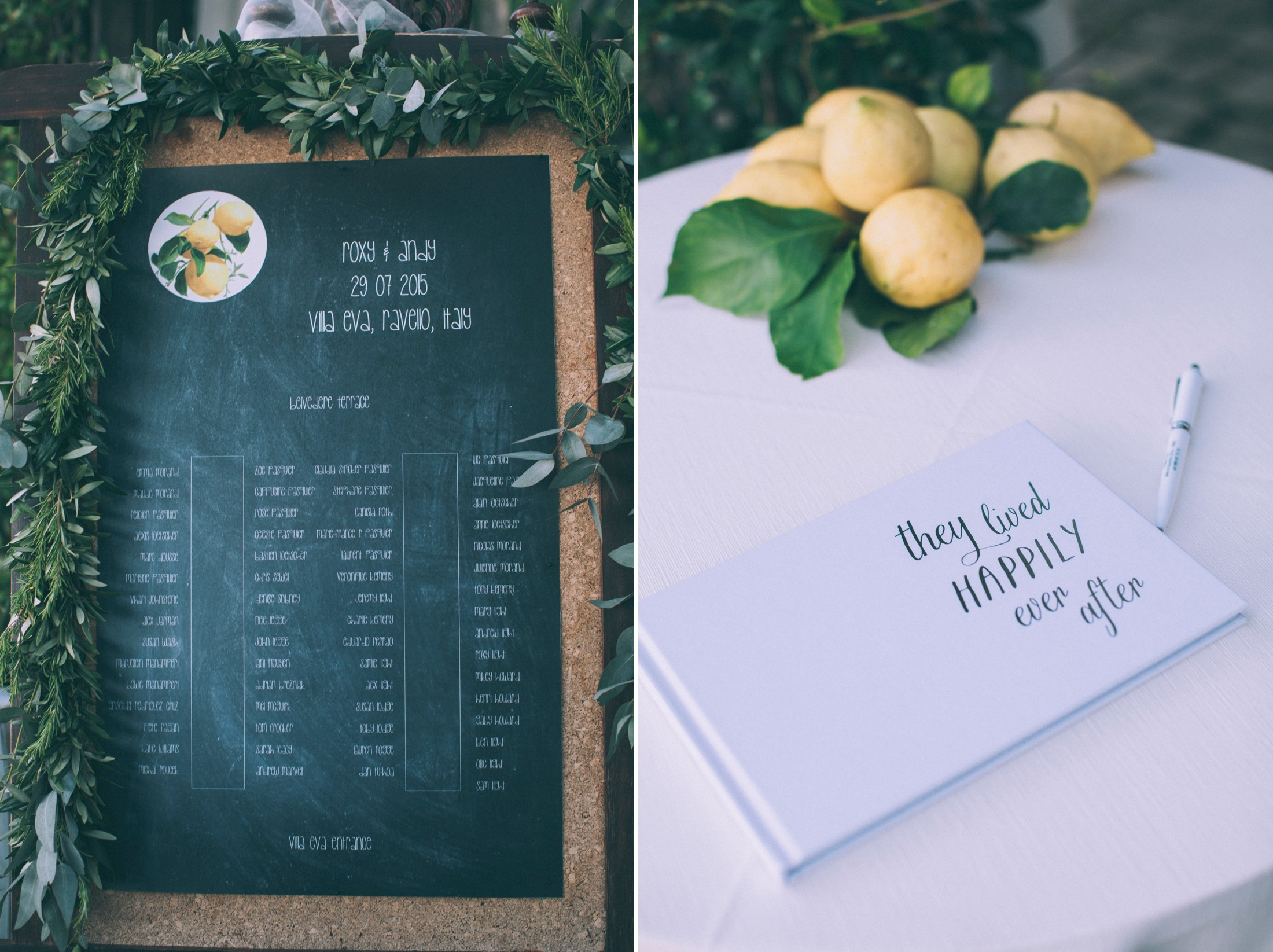 rustic wedding in ravello wedding tableau and guest book