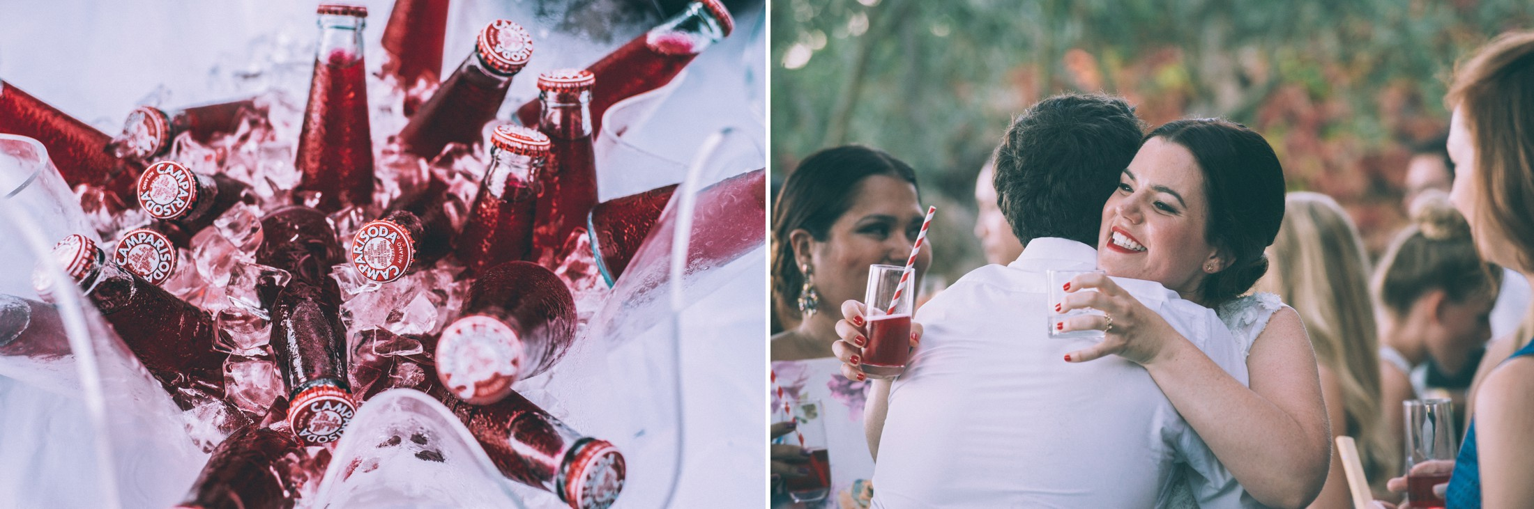 rustic wedding in ravello collage campari bottles and wedding guests