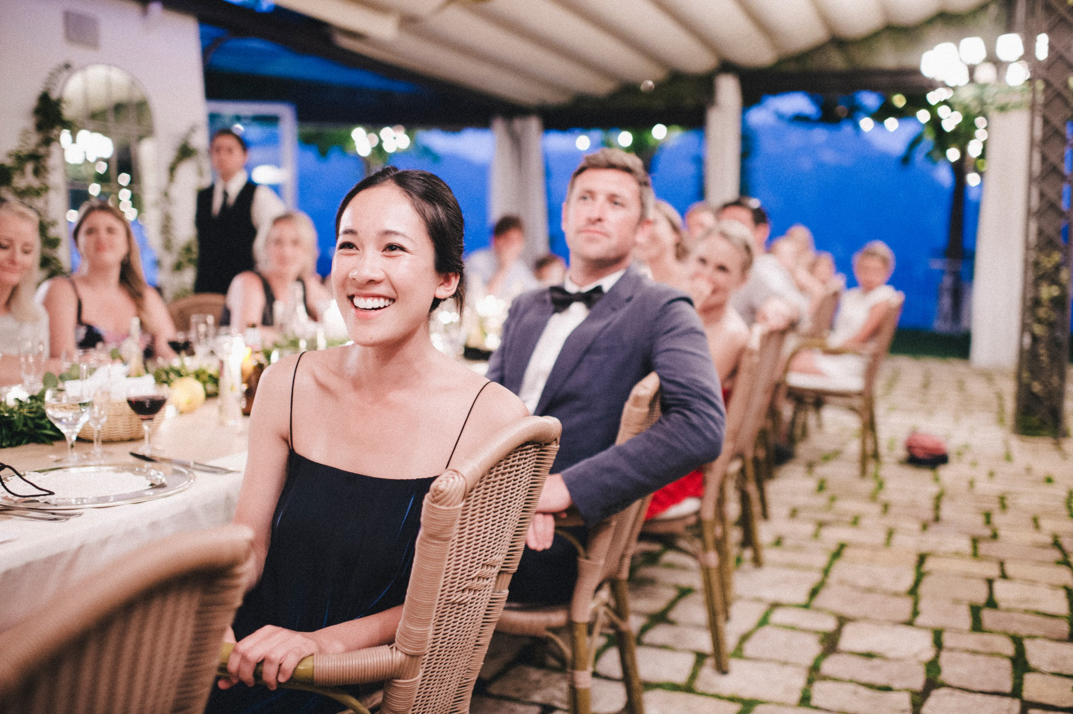 rustic wedding in ravello some guests during the speeches