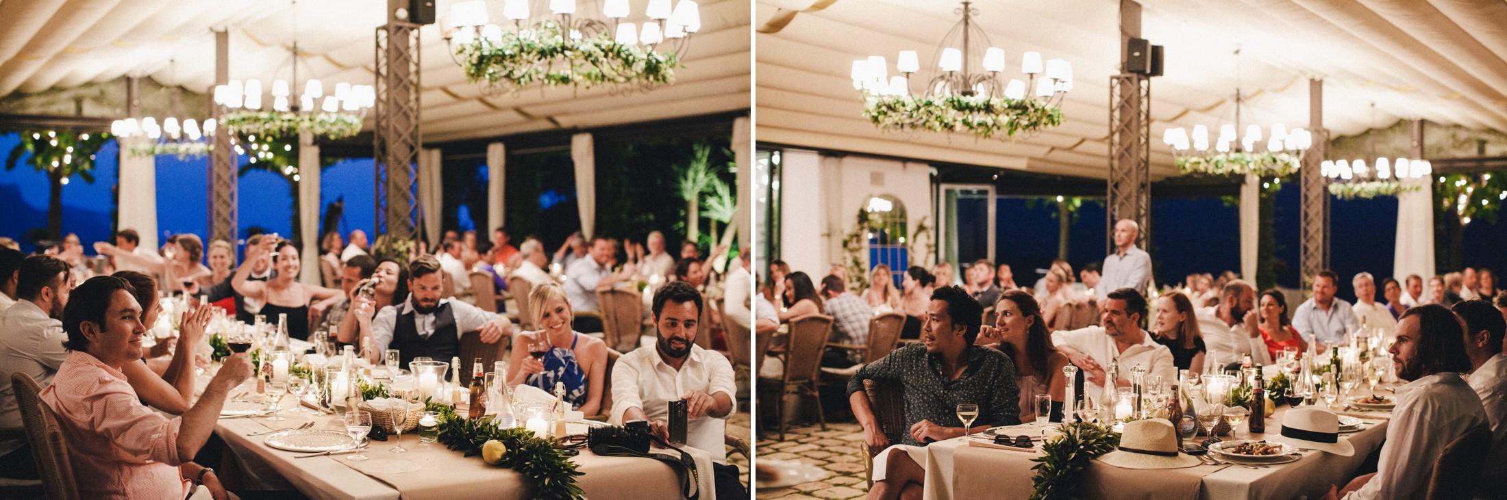 rustic wedding in ravello guests during the speeches