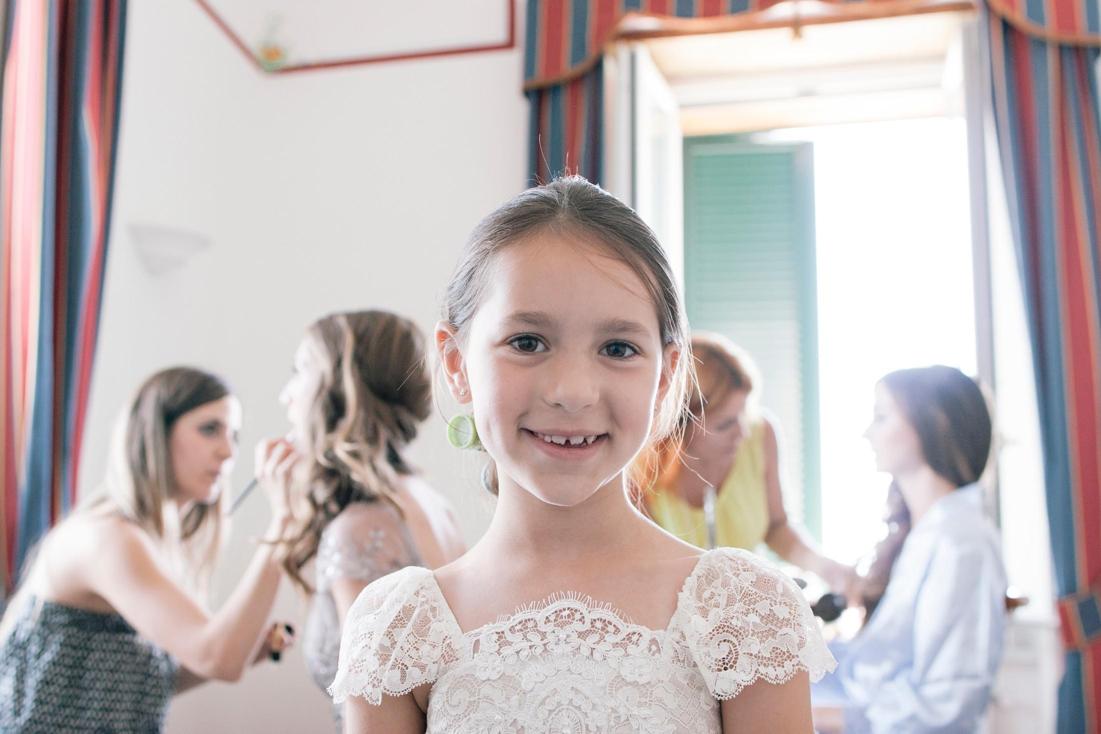 wedding at villa cimbrone flower girl portrait