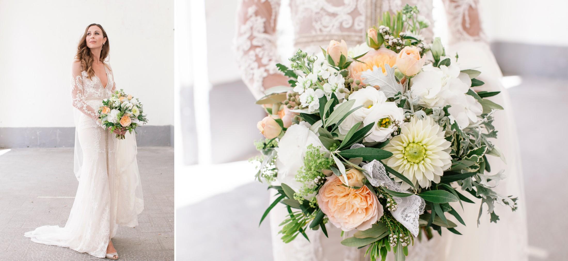 wedding at villa cimbrone bride's portrait and wedding bouquet