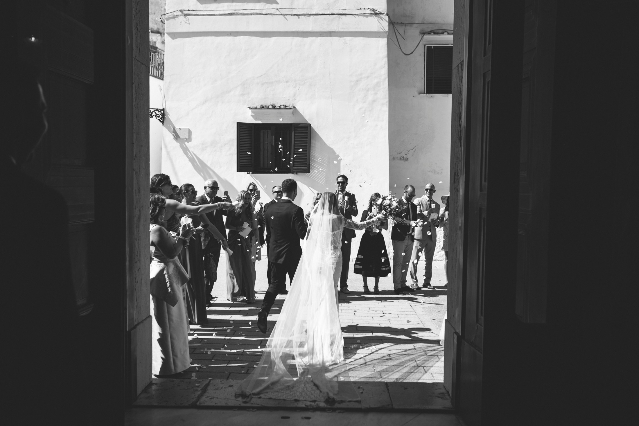 wedding at villa cimbrone the bride and the groom leaving the church