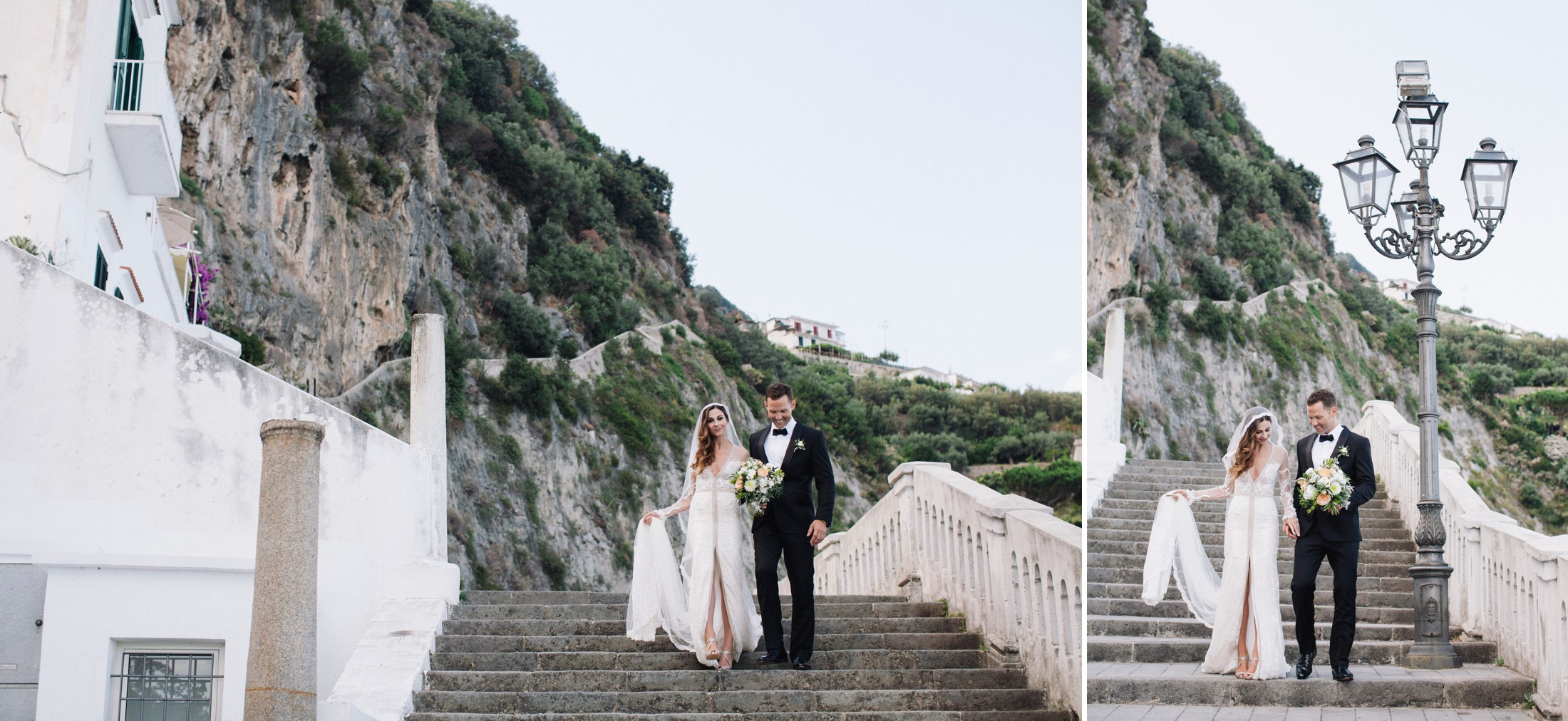wedding at villa cimbrone the bride and the groom walking together