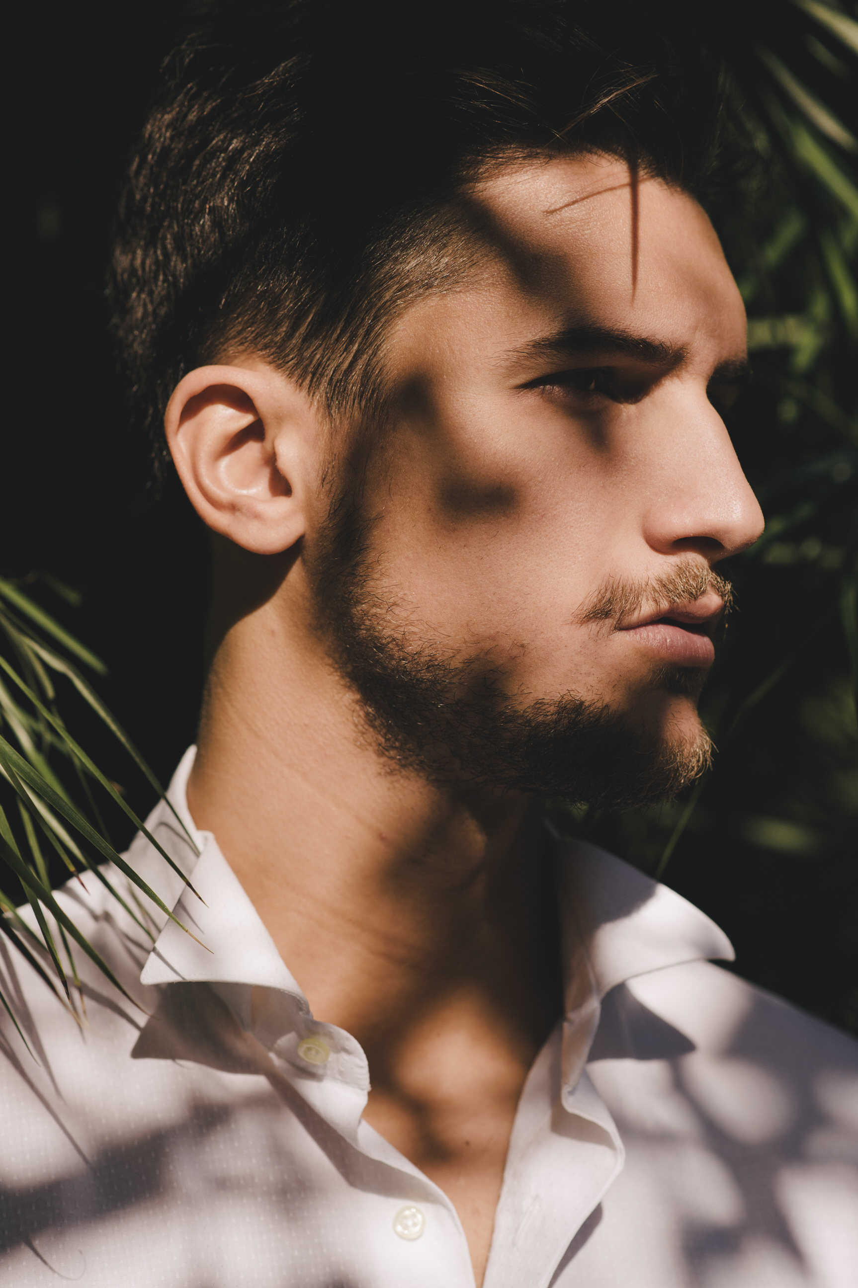 man's face with shadows