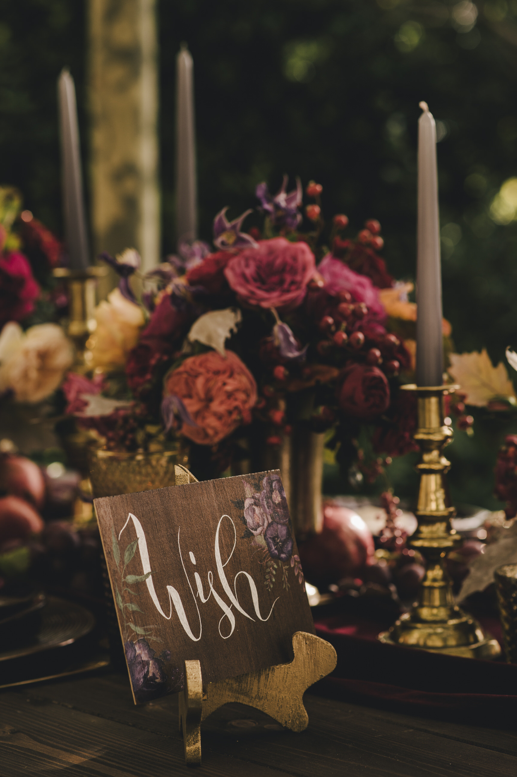 moody wedding table details