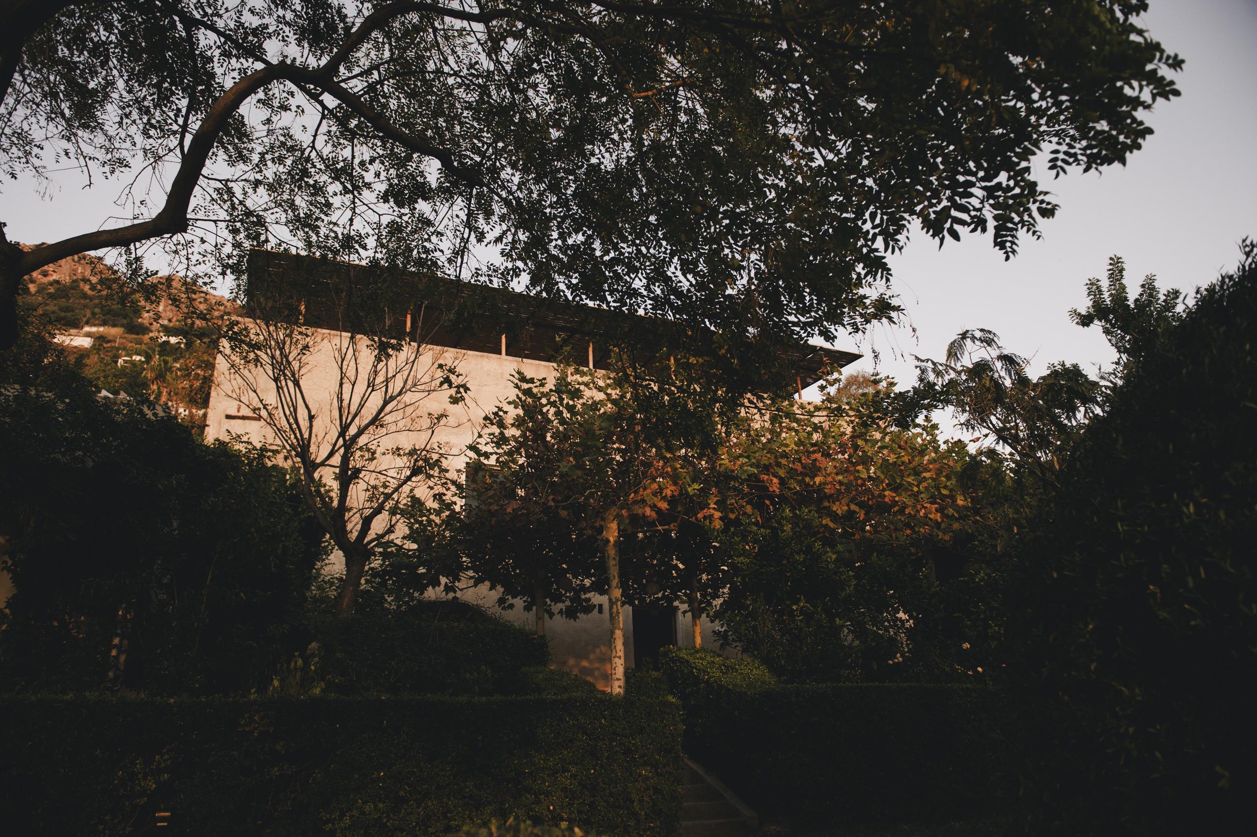 autumn trees and a villa