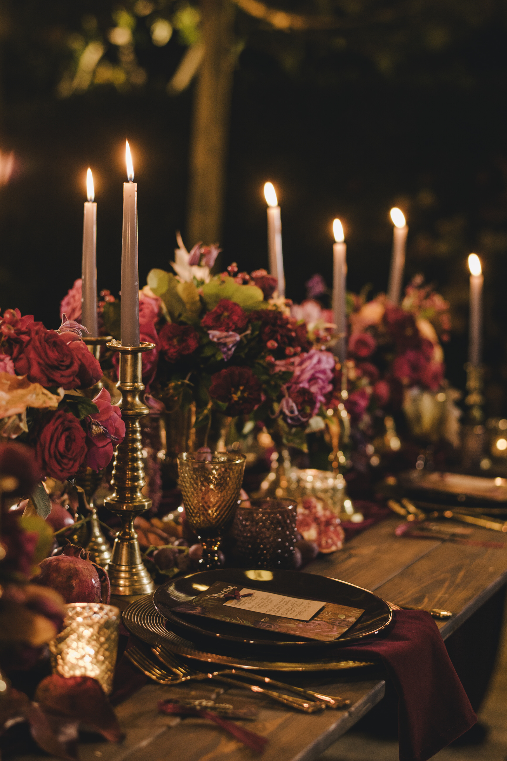 moody wedding table with candles