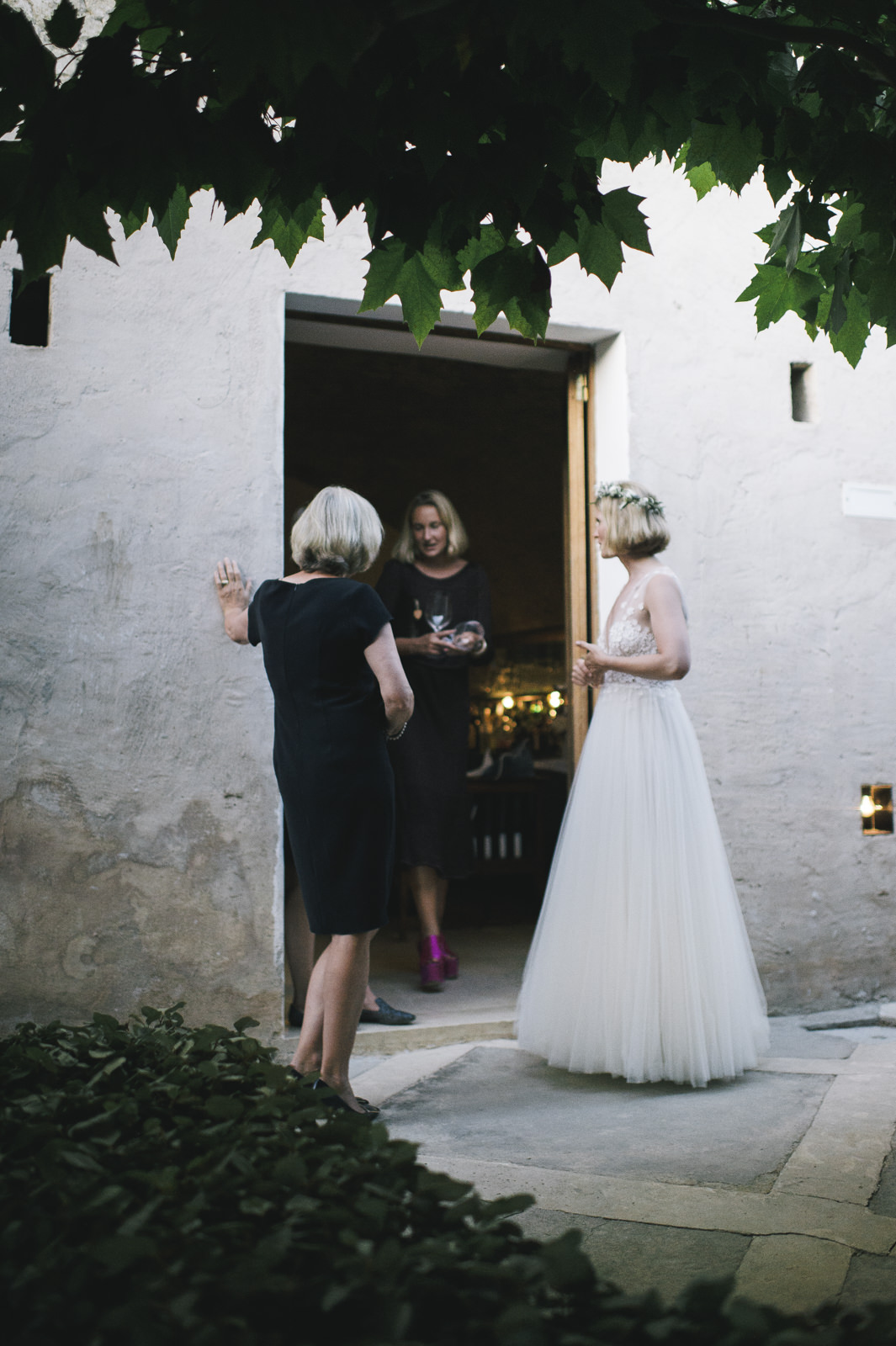 the bride and other guests standing by a big door and talking