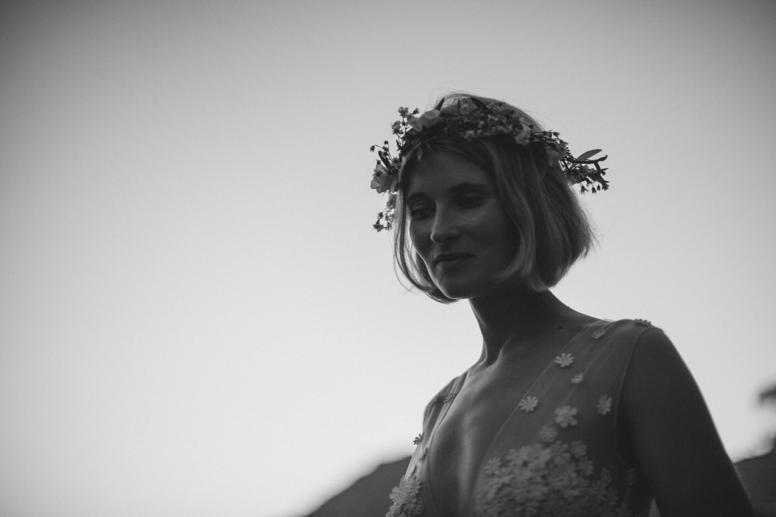 bride's portrait in black and white