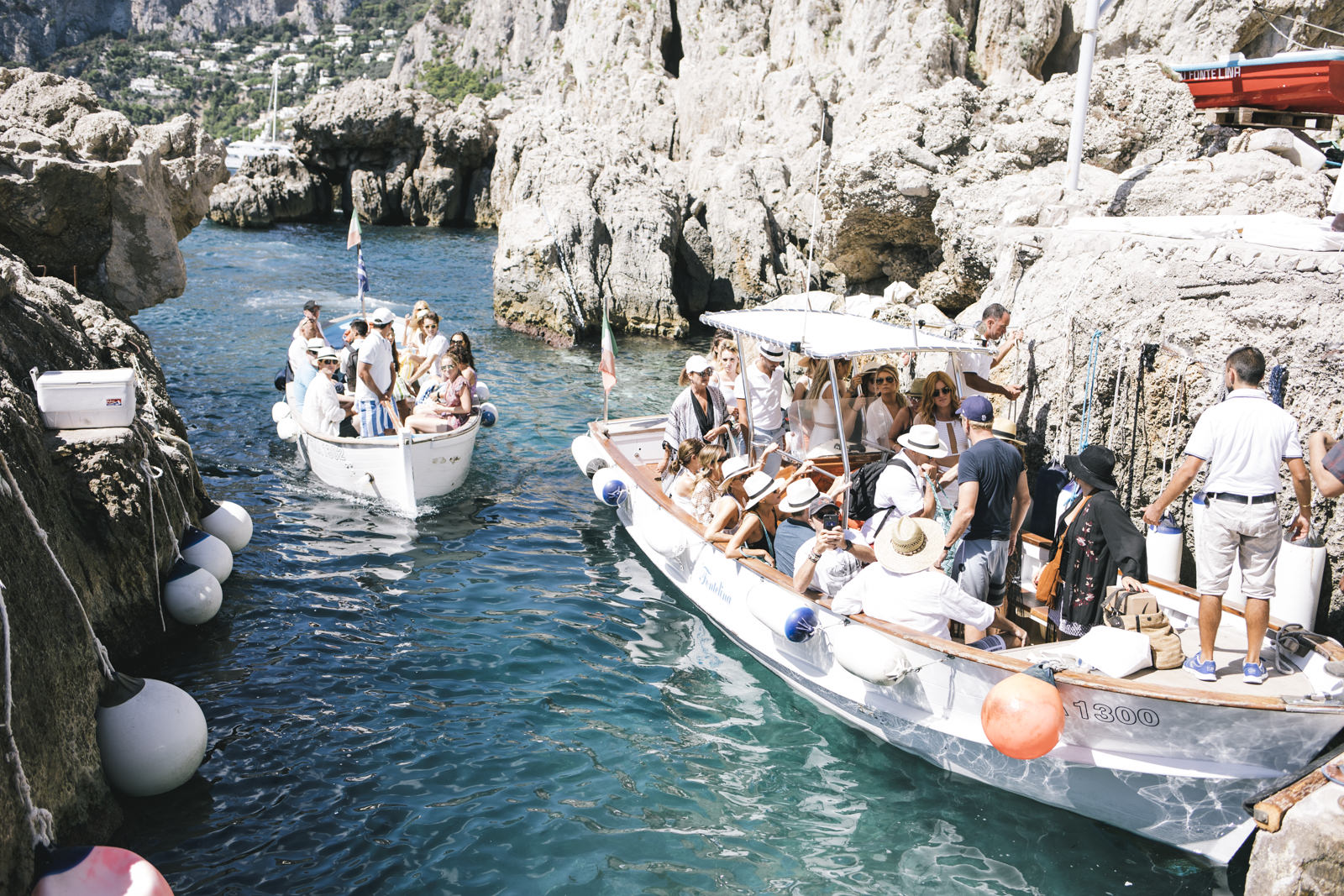 people on a boat trip to capri