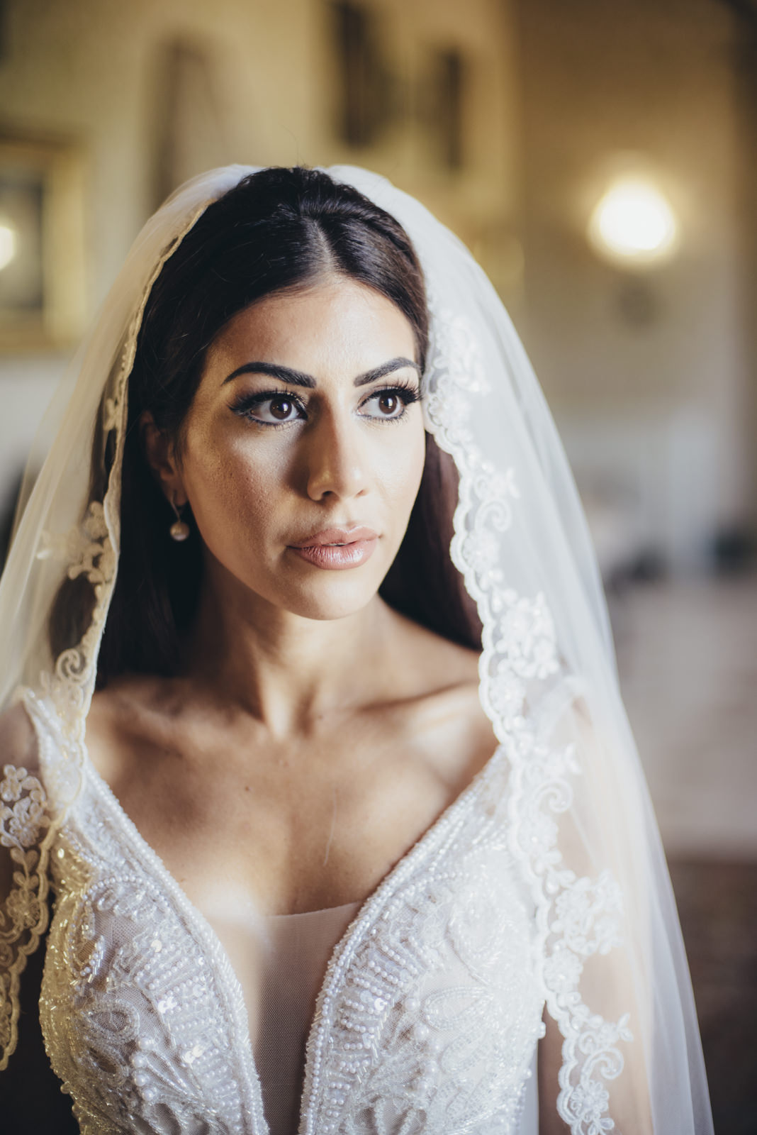 bride's portrait with the wedding veil