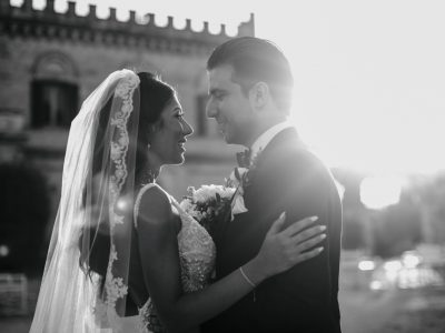 black and white portrait of the bride and the groom