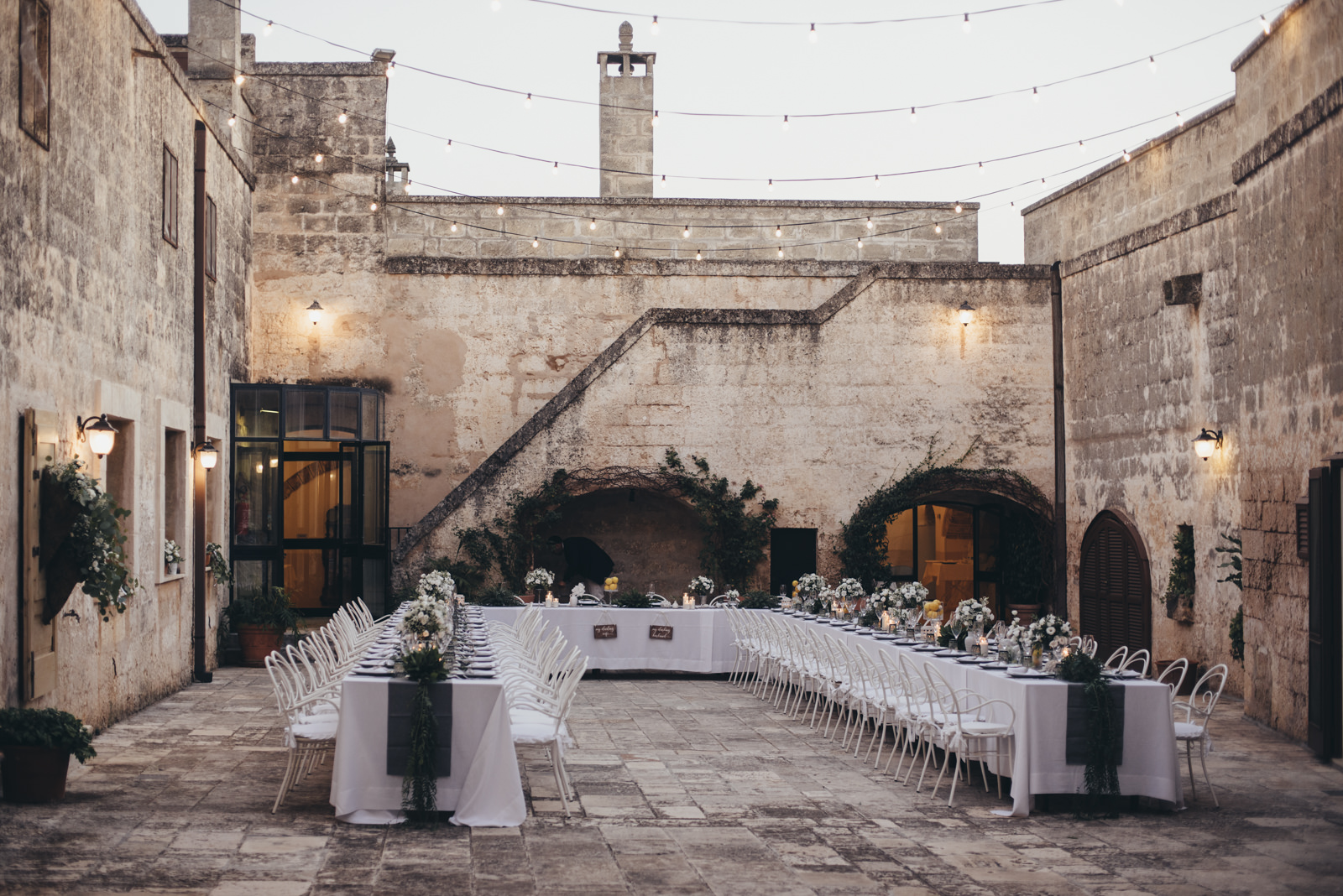 wedding table at masseria salamina