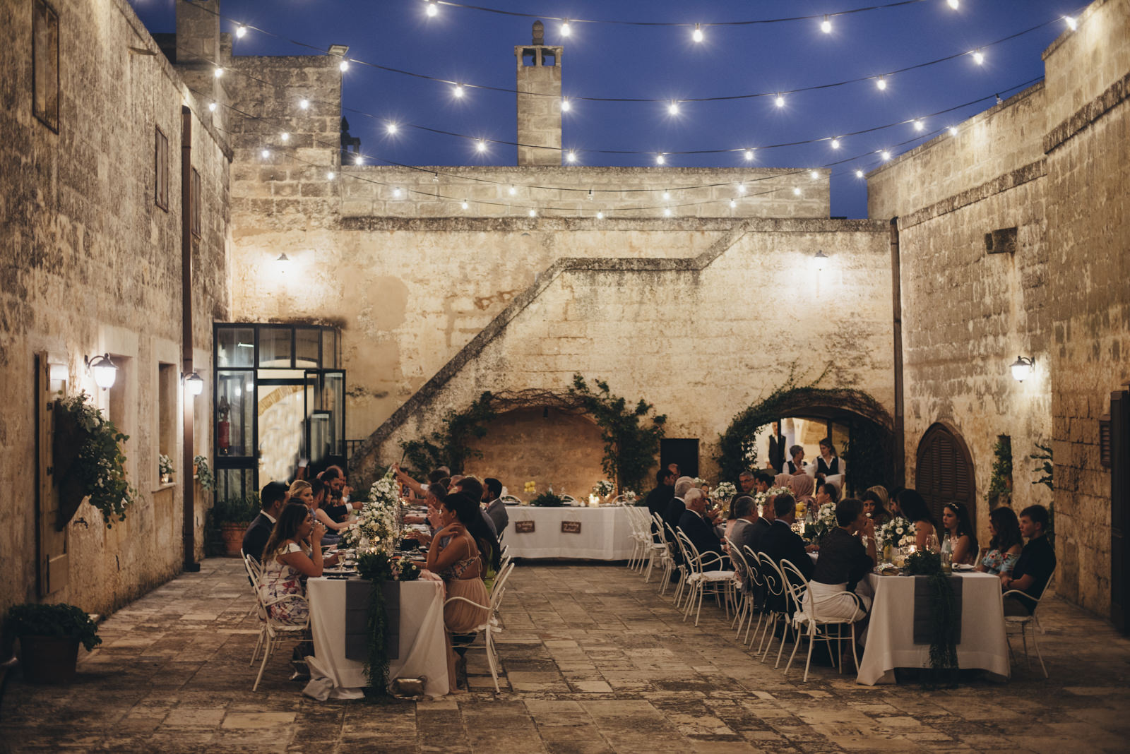 guests during the wedding dinner at masseria salamina