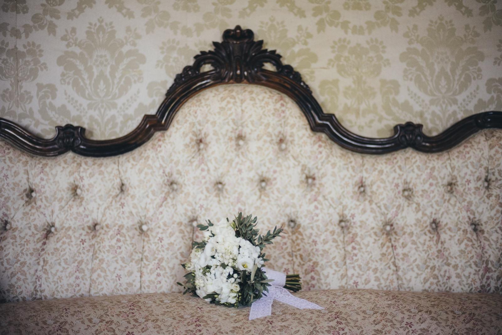 wedding bouquet on a sofa