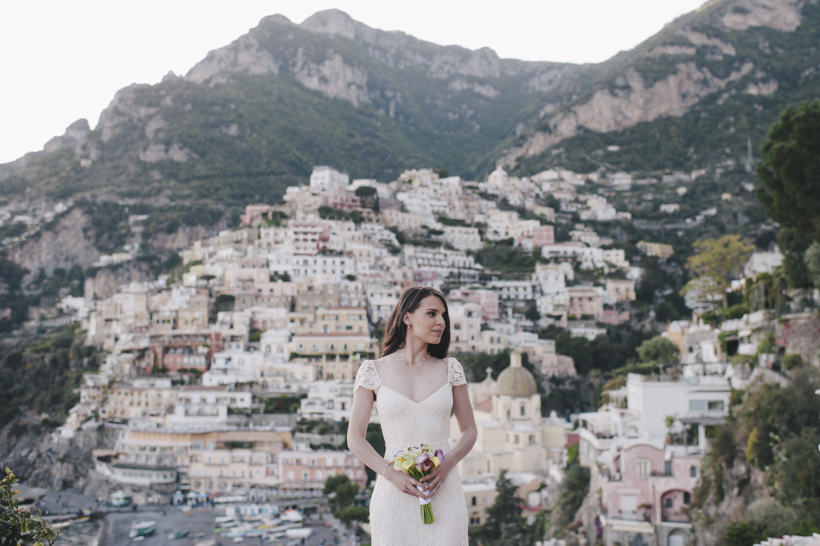 bride's portrait with positano as background