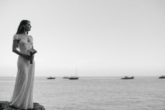 bride's portrait by the sea in black and white