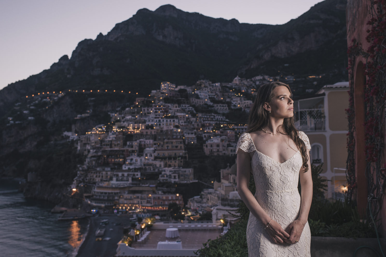 bride's portrait at nighttime
