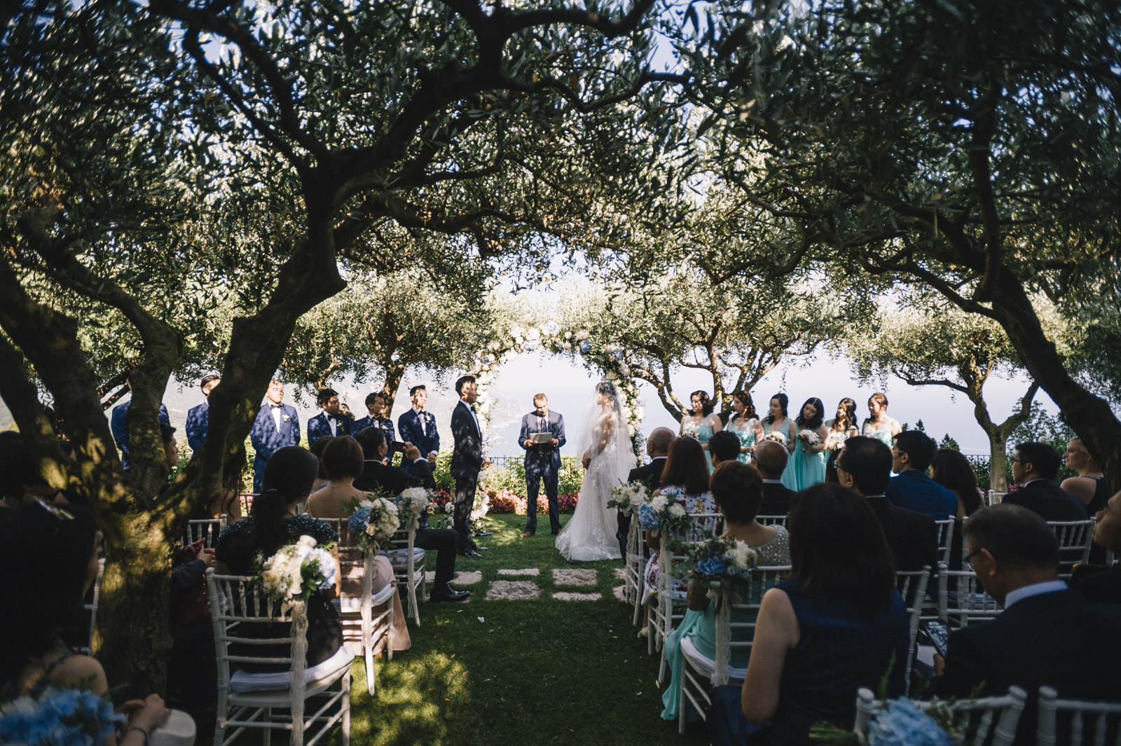 moment from the wedding ceremony at belmont hotel caruso in ravello