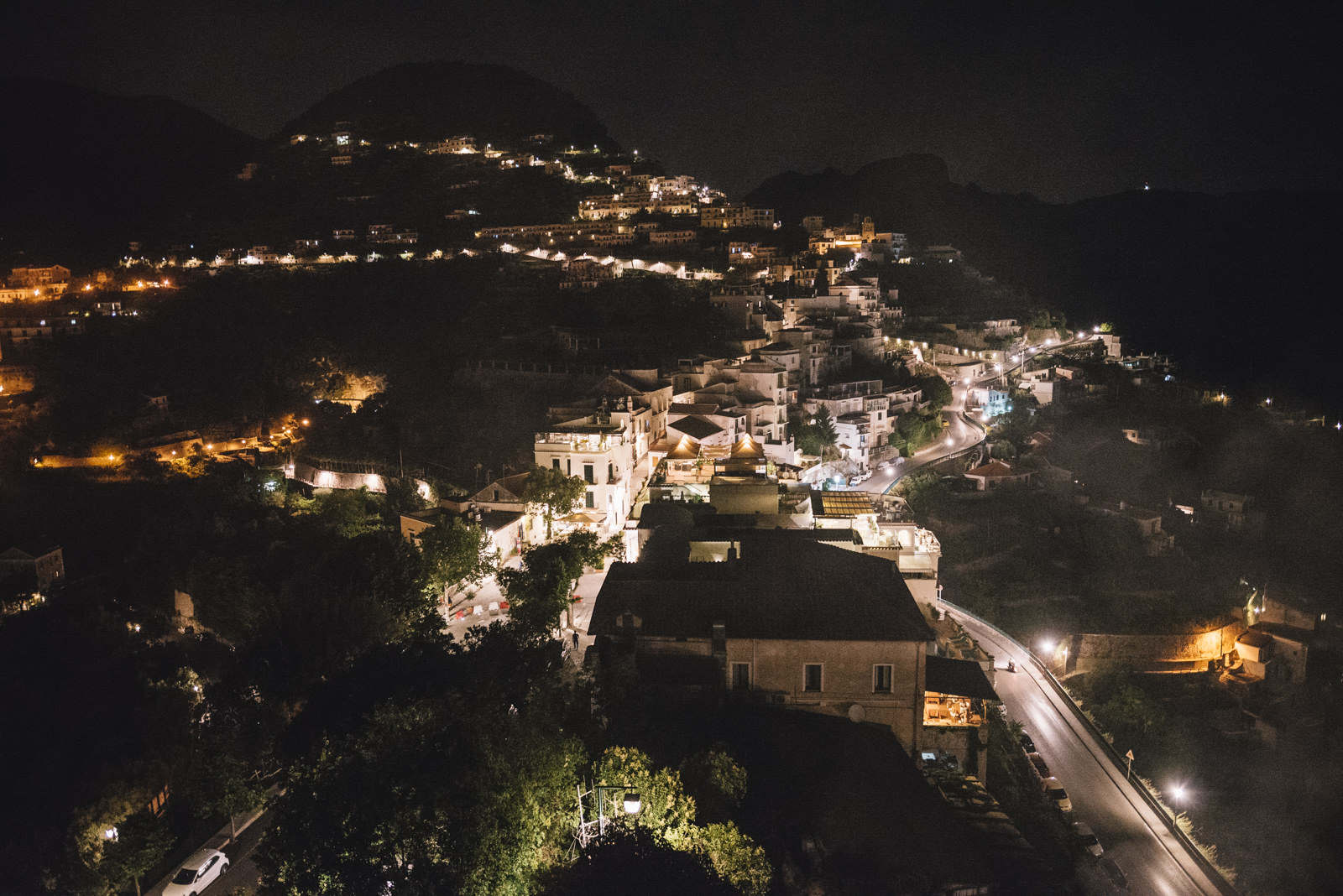 landscape with ravello by night