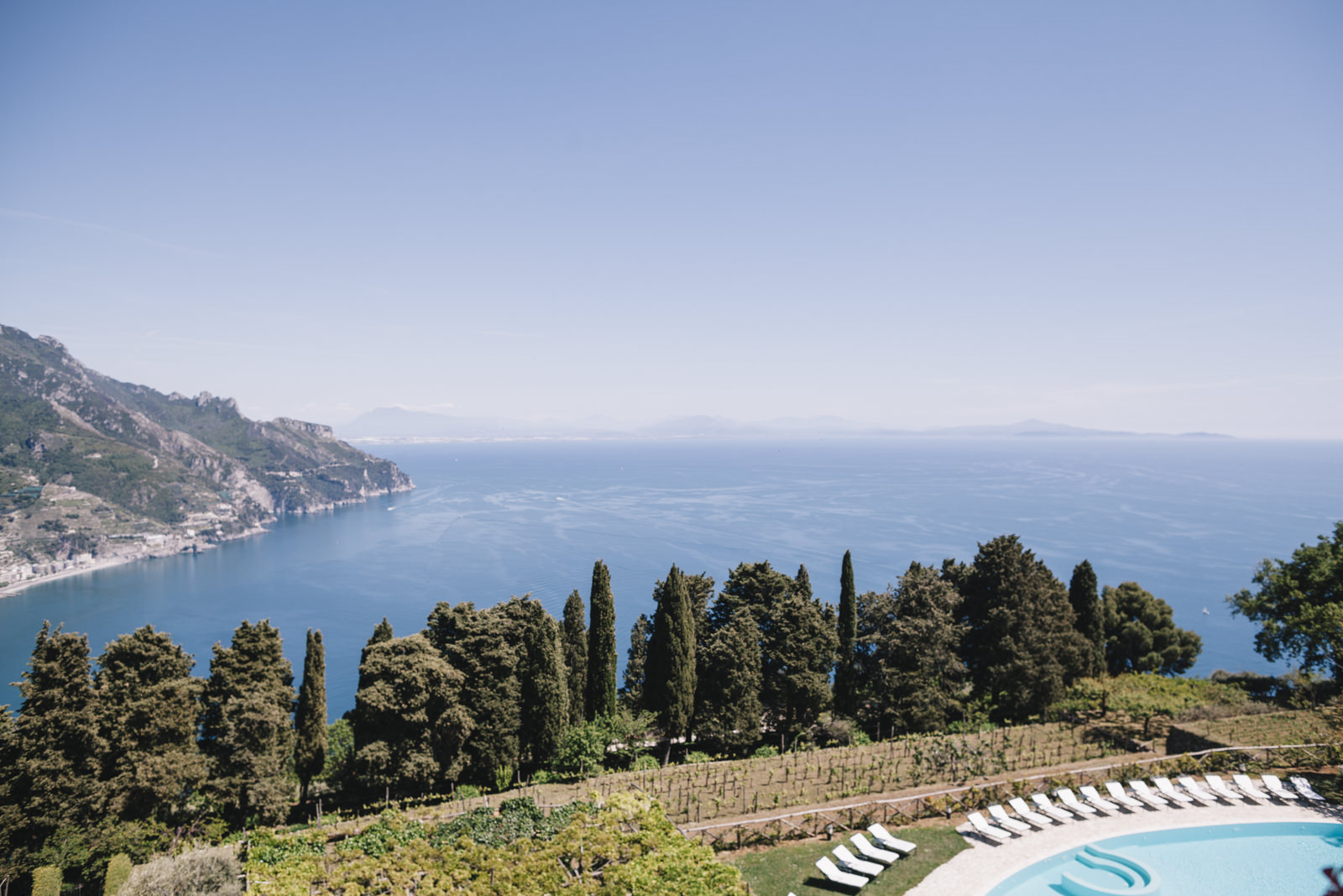 landscape from the pool in villa cimbrone