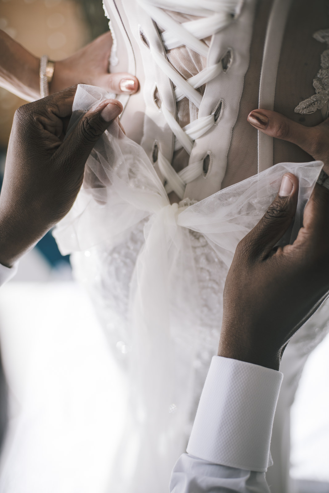 detail of the bride's dress