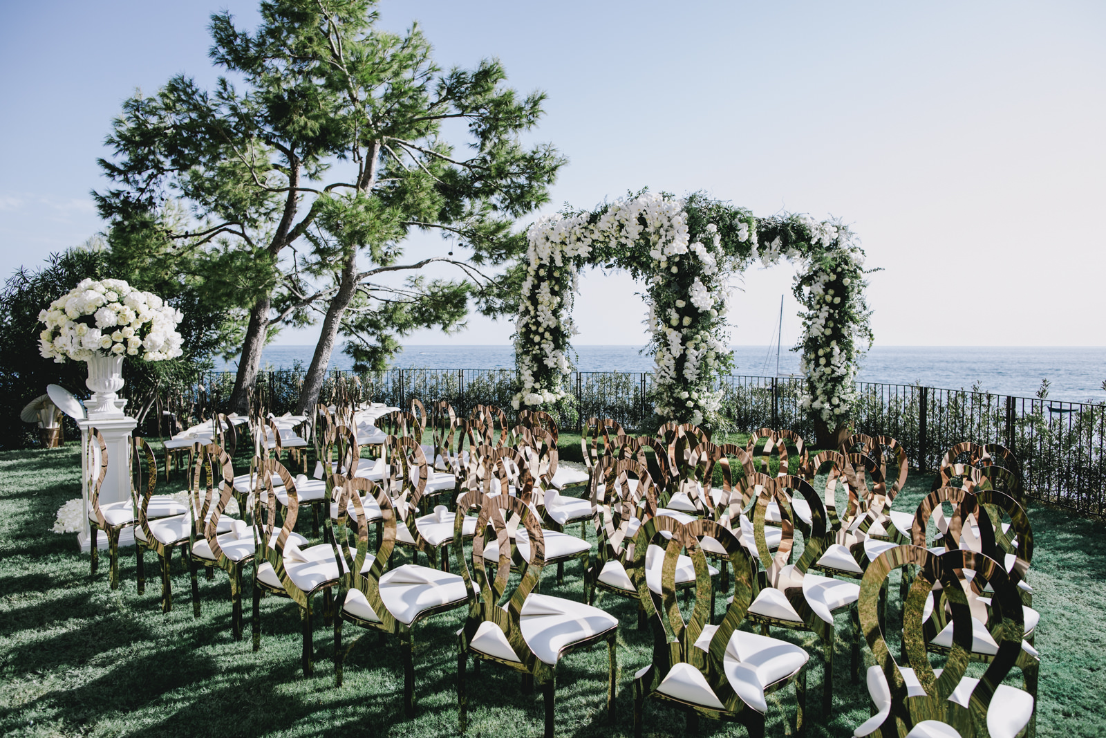 ceremony setting at villa tre ville in positano