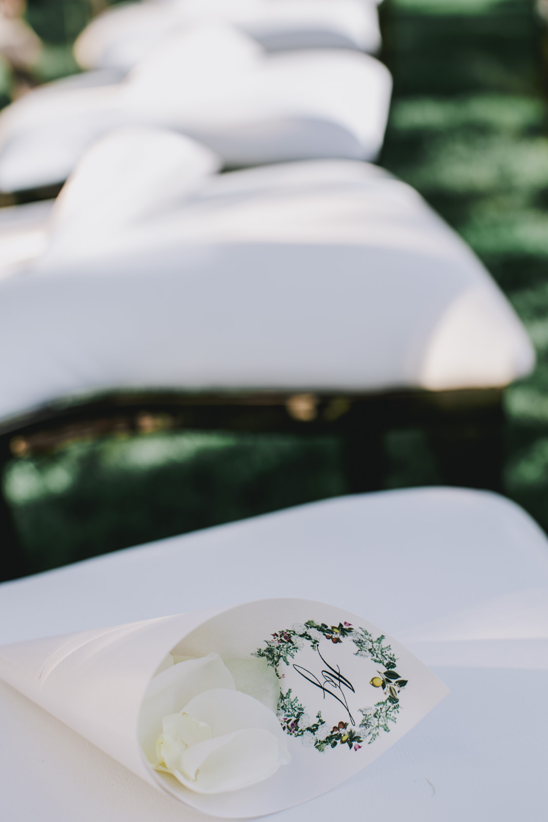 detail of the ceremony setting at villa tre ville in positano