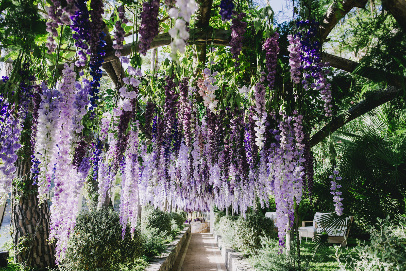 a path in villa tre ville with wisteria