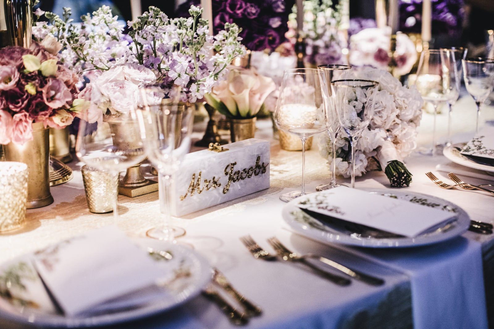 bride's customize hand bag on the wedding table