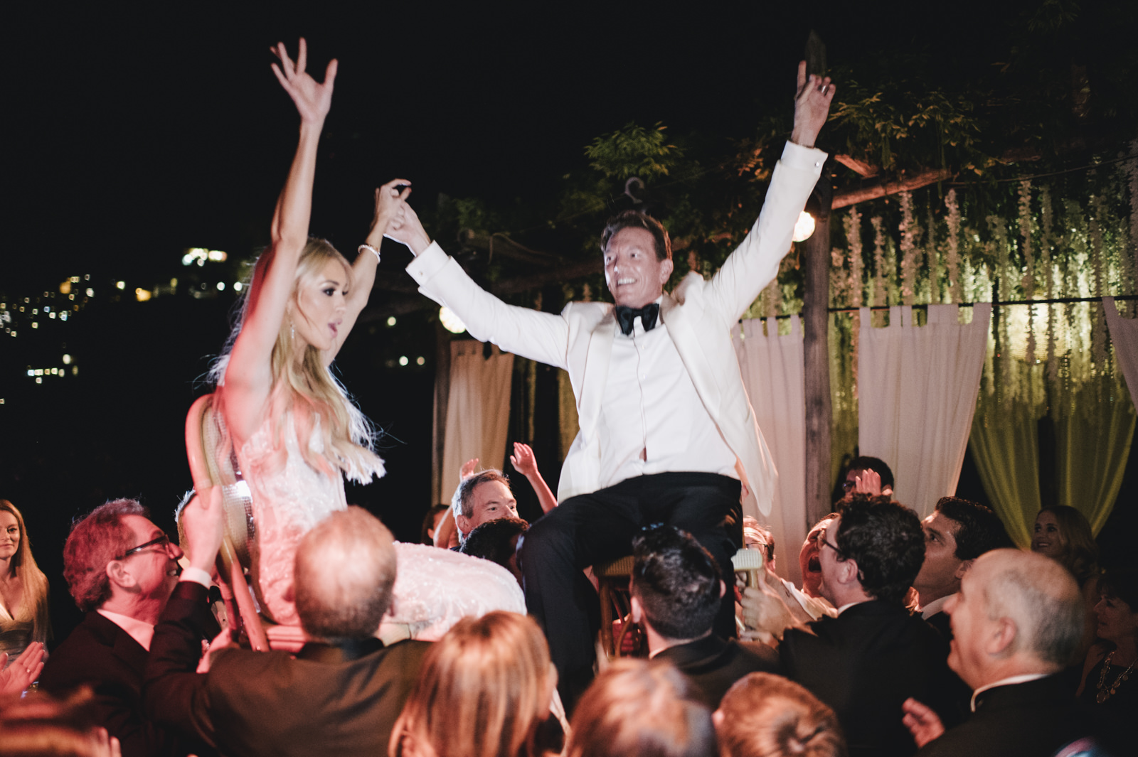 the bride and the groom dancing