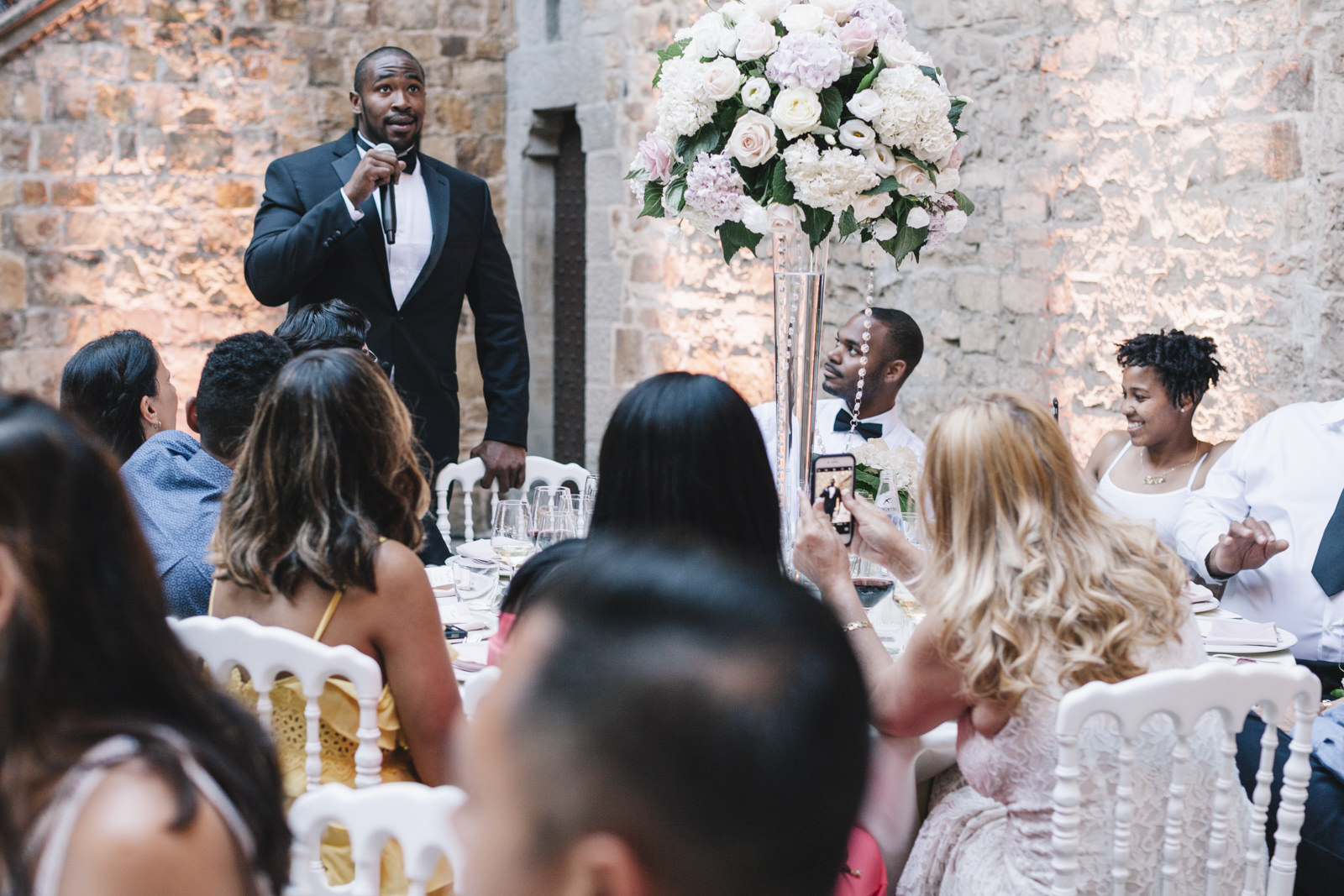 wedding guest during his speech