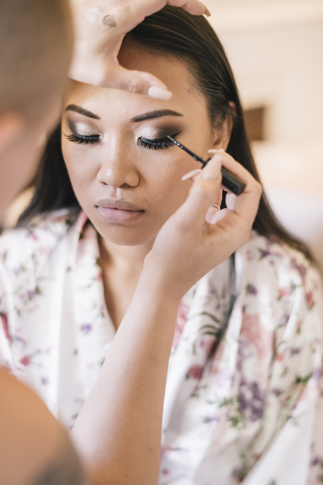 the bride during the make up