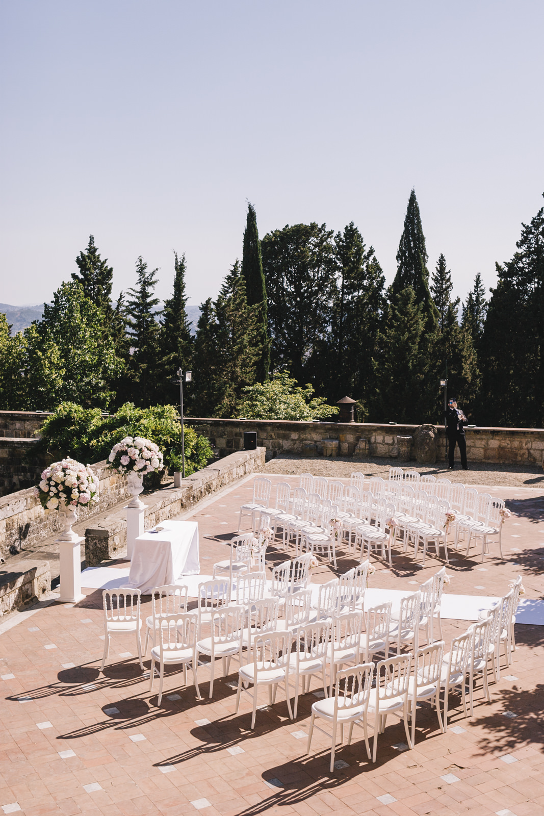 wedding ceremony setting at castello di vincigliata
