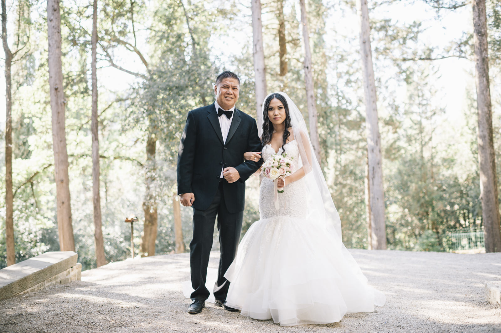 the bride standing next to her father