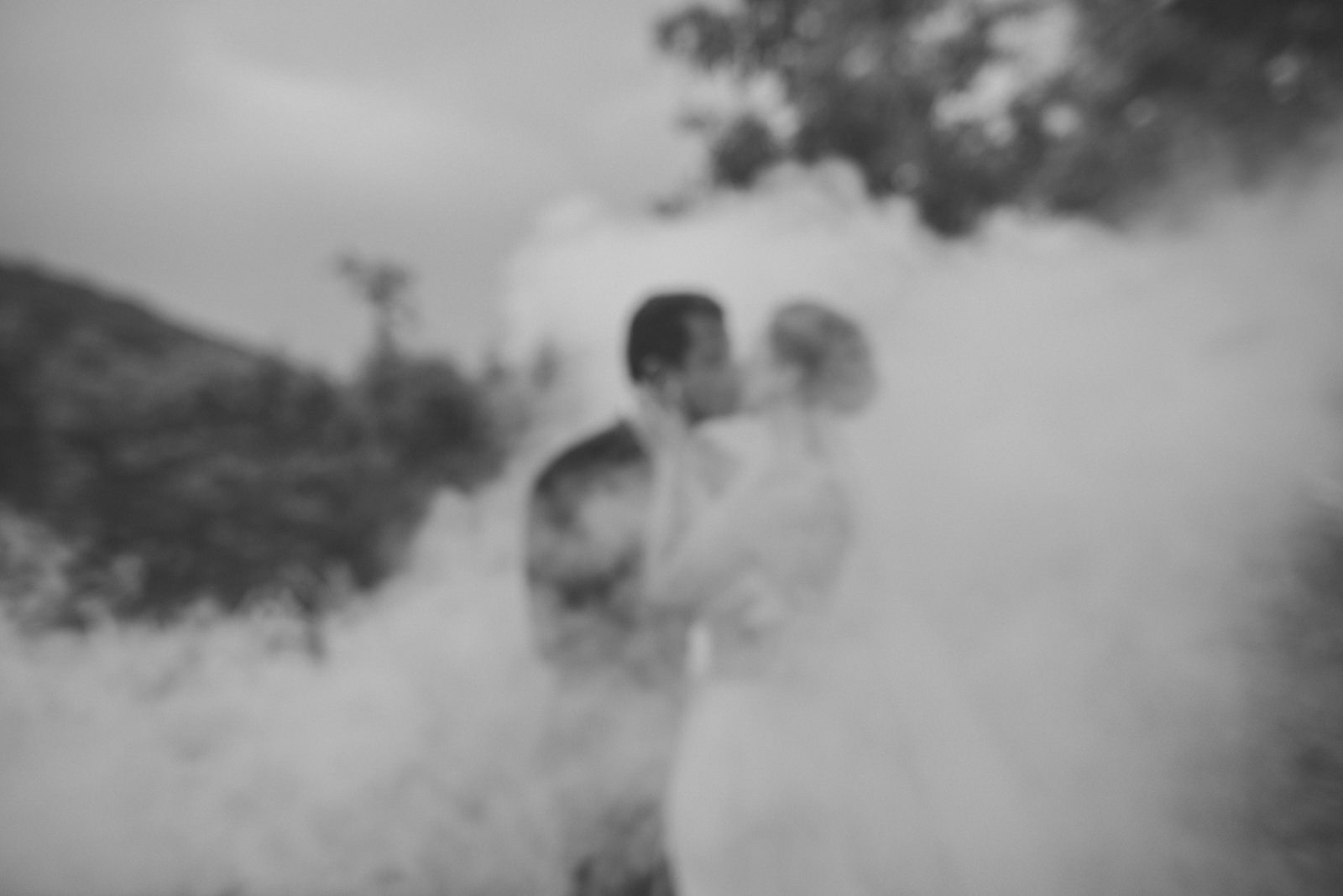 the bride and the groom kissing covered by white smoke in black and white